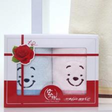 T002 维尼熊双条礼品毛巾包装盒套装