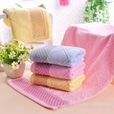 【6362 菱形方块竹纤维毛巾】 超柔 成人大毛巾