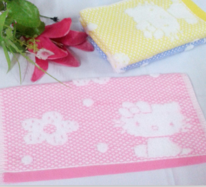 【6266-kitty猫网格无捻童巾】100%棉 童巾 小毛巾