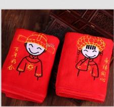 【3308-超细纤维超厚刺绣红毛巾】超强吸水 超柔软 婚庆毛巾