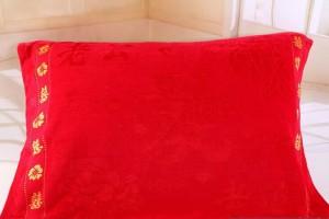 【6806 加大加厚割绒枕巾】 纯棉竹纤维 红色婚庆枕巾 加大加厚款