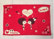 【6809 亲亲红色三层布艺枕巾】棉 三层布艺  加大红色枕巾