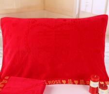 【6805 红色锻边割绒枕巾】竹纤维 超柔软舒适 超市高端 结婚必备