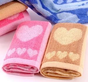 【6401-桃心色织澡巾】130克纯棉 38*90 纯棉澡巾 大三条毛巾