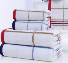 【5013-方格线条浴巾】厂家直接纯棉简约 加厚成人浴巾 高阳厂家