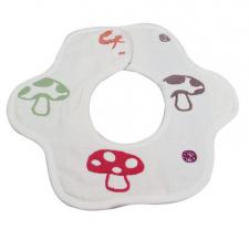 【6152-A类360度旋转花朵花瓣围嘴】六层纱布蘑菇纯棉新生婴儿口水巾手帕